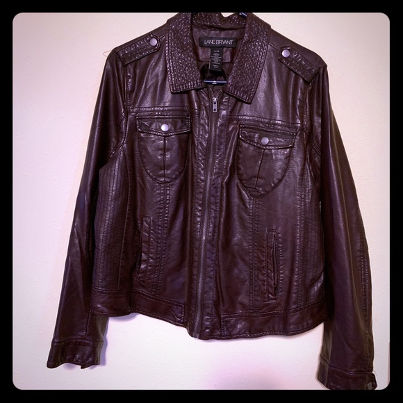 Lane Bryant Jackets & Blazers - Chocolate colored faux leather jacket
